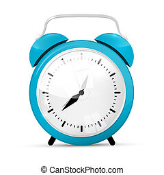 Blue Vector Alarm Clock Isolated on White Background