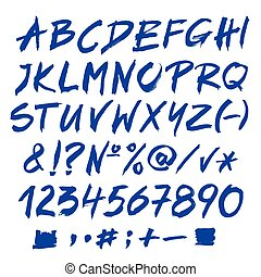 Blue vector alphabet. Letters of the alphabet