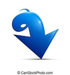Blue vector arrow on white background