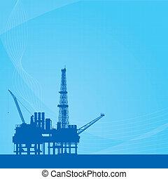 Blue vector background with oil platform