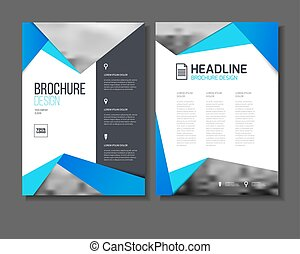 Blue vector business brochure or annual report template vector, Leaflet cover presentation with abstract geometric elements, layout in A4 size