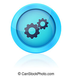 Blue vector button with gearwheel