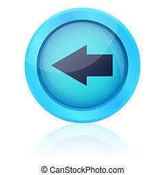 Blue vector button with left arrow