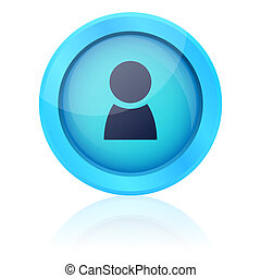 Blue vector button with people