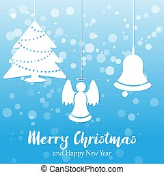 Blue Vector Christmas and New year background