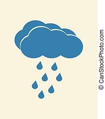 Blue vector cloud with falling rain. Rainy season weather...