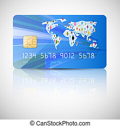 Blue Vector Credit Card Illustration Isolated on Grey Background