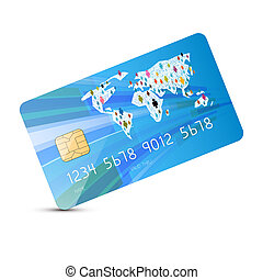 Blue Vector Credit Card Illustration Isolated on White Background