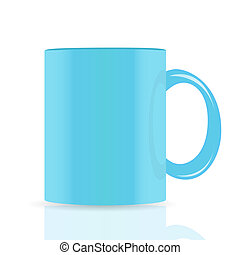 blue vector cup isolated on white background