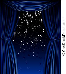 Blue vector curtain