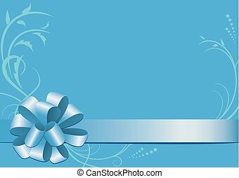 blue vector decorative card with bow-knot