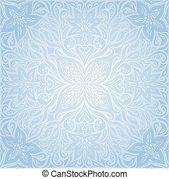 Blue vector decorative flowers background floral ornamental fashion wallpaper mandala design