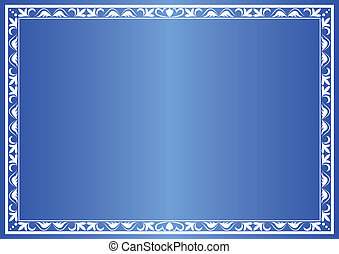 blue vector decorative frame with gradient
