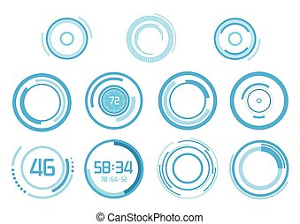 Blue vector elements on white background