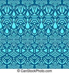 Blue vector ethnic tribal seamless pattern