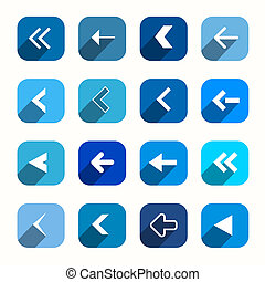Blue Vector Flat Design Arrows Set in Rounded Squares