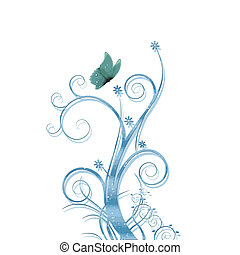 blue vector foliage background
