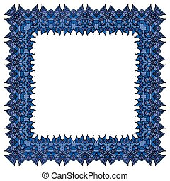 Blue vector frame. Isolated square element.
