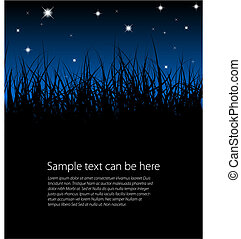 Blue vector grass background with place for your text
