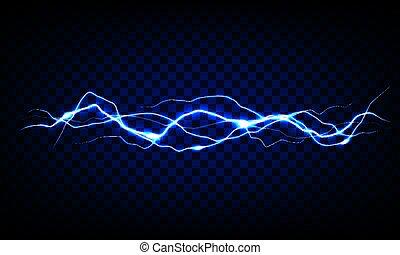 Blue vector lightning on transparent background. Realistic...