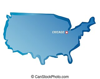 Blue vector map of USA
