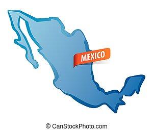 Blue vector Mexico map