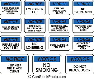 Blue vector notice signs on white background