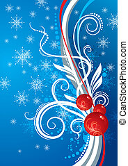 Blue vector ornate background with Christmas baubles