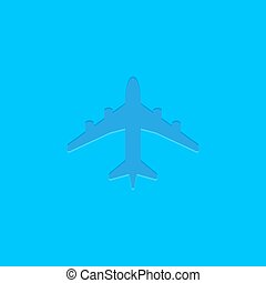 Blue vector plane icon on blue