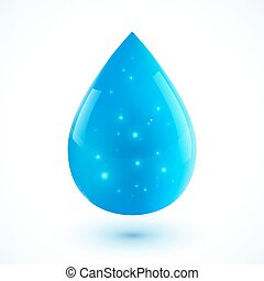 Blue vector realistic ion water drop isolated on white