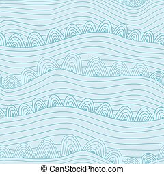 Blue vector seamless abstract hand-drawn pattern. Wave patterns (seamlessly tiling). Hand drawn seamless wave background