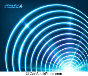 Blue vector shining concentric circles abstract background