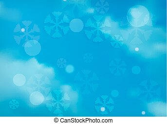 blue vector sky with white clouds and snowflakes