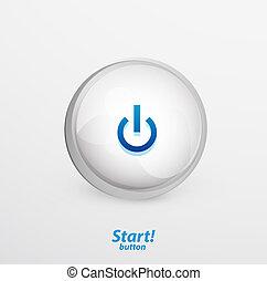 Blue vector start button - Glossy Power | start button....