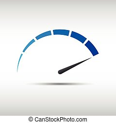 Blue vector tachometer, speedometer icon, performance measurement symbol