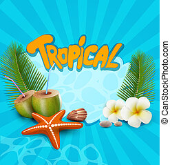 blue vector tropical banner