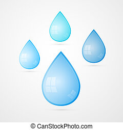 Blue Vector Water Drops Isolated on White Background