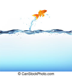 Goldfish Leaping Out Of Water, Isolated On White Background, Vector Illustration