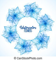 Blue vector watercolor painted flowers frame
