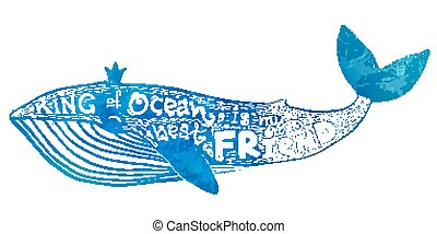 Blue vector whale with lettering King of Ocean is my best Friend in watercolor style