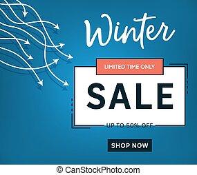 Blue vector winter sale banner template design