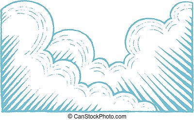 Blue Vectorized Ink Sketch of Clouds Illustration -...