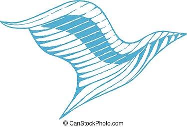 Blue Vectorized Ink Sketch of Eagle Illustration