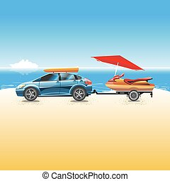 Blue vehicle and water scooter on a beach - Blue crossover...