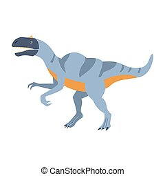Blue Velociraptor Dinosaur Of Jurassic Period, Prehistoric Extinct Giant Reptile Cartoon Realistic Animal