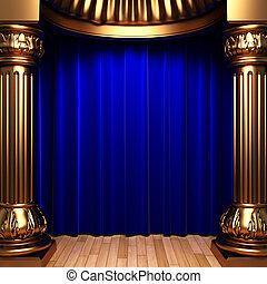 blue velvet curtains behind the gold columns
