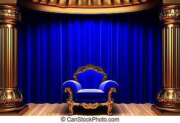 blue velvet curtains, gold columns and chair - blue velvet...