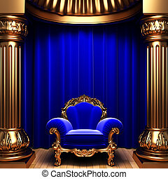 blue velvet curtains, gold columns and chair