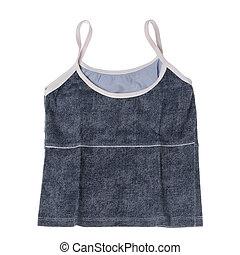 Blue vest on white background