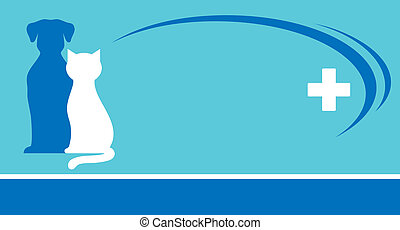 blue veterinarian background and pets silhouettes with white...